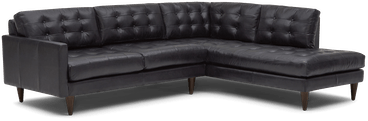 eliot leather sectional with bumper %282 piece%29 santiago steel