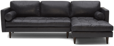 briar leather sectional santiago steel