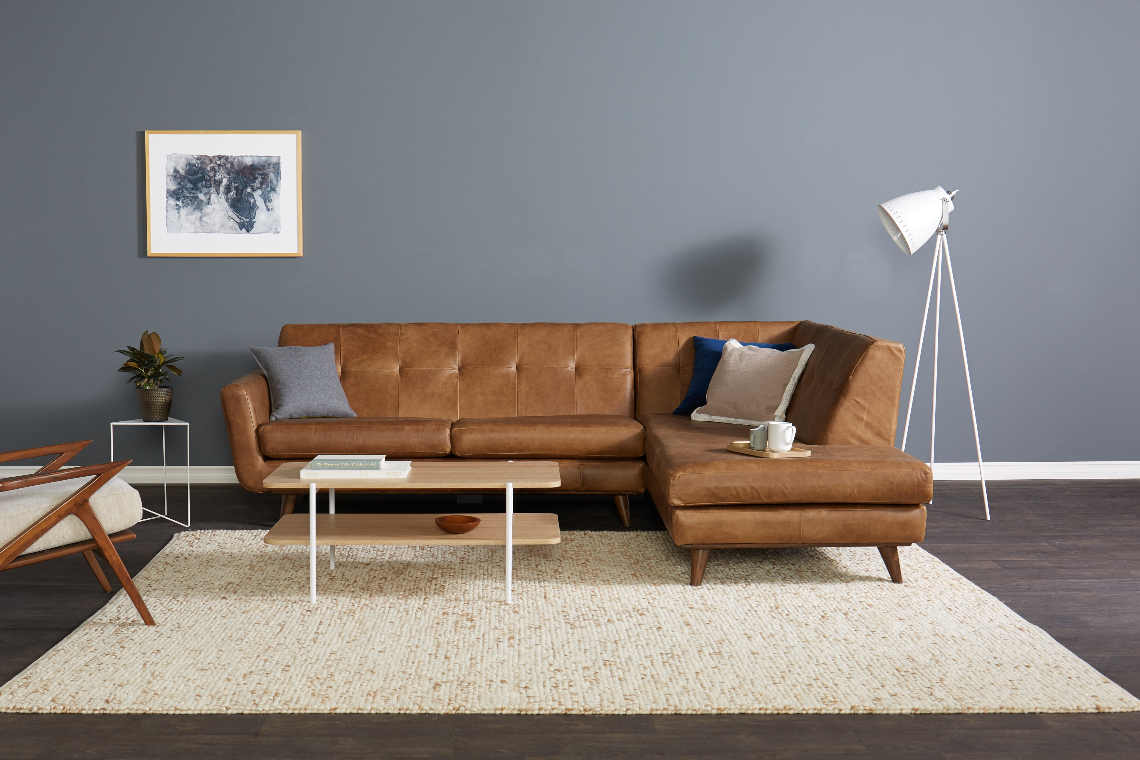 Hughes Leather Sectional with Bumper Santiago Ale